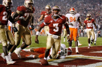 Celebrating a Florida State touchdown.