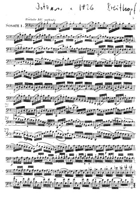 The sheet music for Bach's Cello Suite 1 (Prelude), the most popular of the suites and what Yo Yo Ma is most famous for playing
