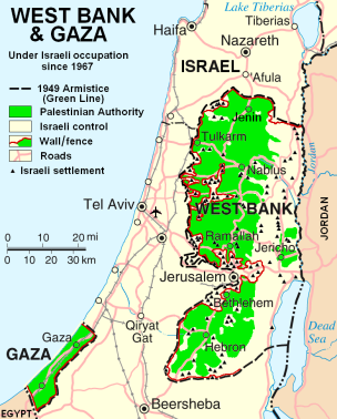 A map of territorial control within Israel